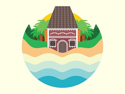 Goa goa logo house palm water sun landscape monogram vector symbol beach portuguese