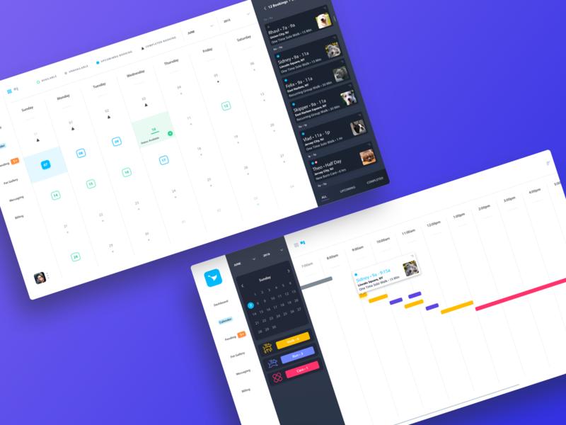 Pet Pro Booking Calendar and Daily Scheduler colors clean app design scheduler calendar app dashboard ux ui minimal app web