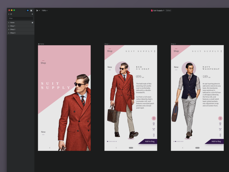 Suit Supply - Android Exploration invision studio e commerce android minimal app mobile ux ui