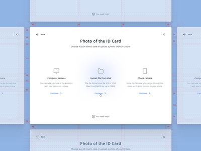 ID card verification guidelines id card document upload modal interface spacing grid design web simple clean ui ux