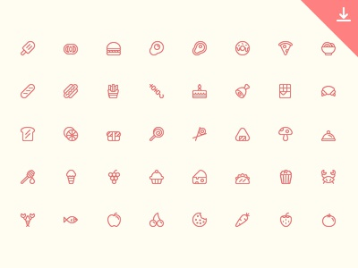 56 Food Icons icon free