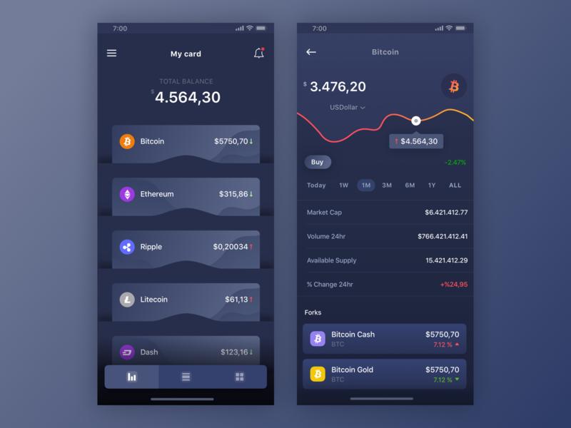 Crypto Wallets ui ux mobile design coin crypto app