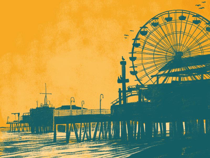 Santa Monica angeles los monica santa texture design poster gig comedy photoshop illustration