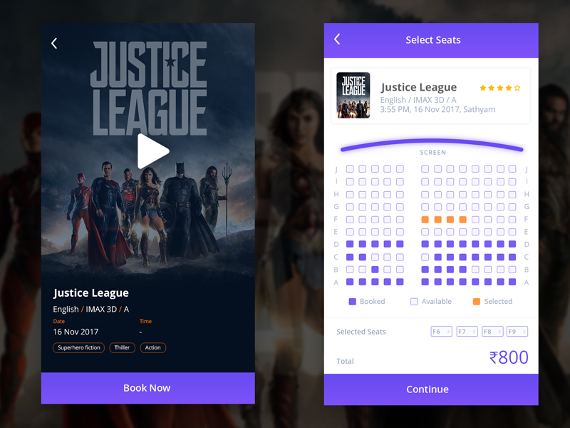 Movie App ux ui film movie minimal mobile design clean cinema violet app