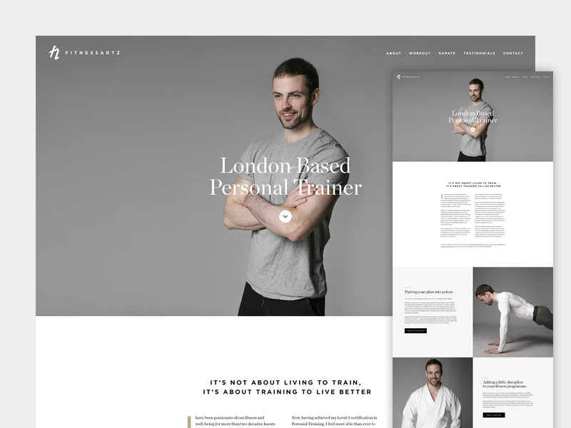 FitnessArtz One Page Concept personal training gym fitness chronicle gotham ui one page digital website
