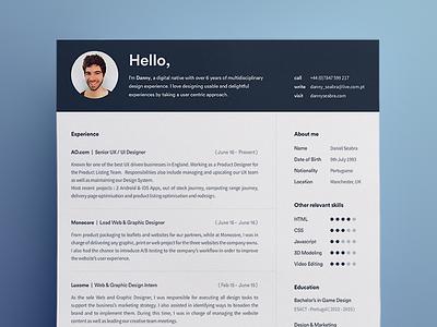 My new resume design blue ux curriculum cv resume webdesign ui
