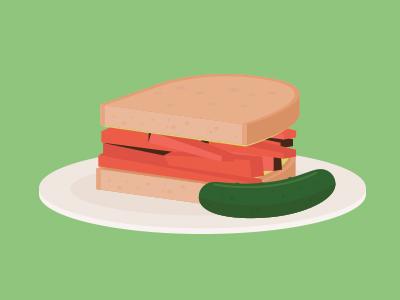 Katz's Deli Sandwich katz deli nyc sandwich pastrami bread pickle food manhattan illustration vector infographic