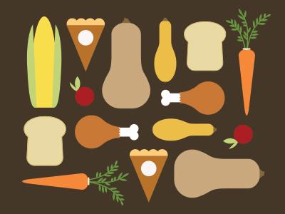 Happy Thanksgiving! thanksgiving turkey squash food icons feast pattern carrot pie corn bread