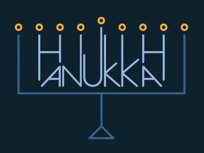 Happy Hanukkah! hanukkah chanuka holidays menorah candles illustration lettering typography