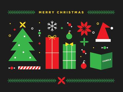 Merry Christmas! christmas holidays tree gifts poinsettia snowflake festive