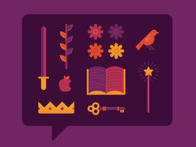 Tell A Fairy Tale Day fairytale story fantasy illustration icons princess bird flowers book