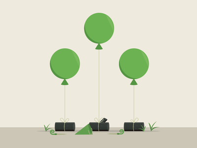 Forest Party logs balloon party forest