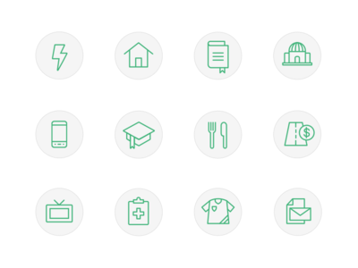 Icon set for a financial tracking app illustration icons iconography