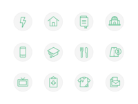 Icon set for a financial tracking app