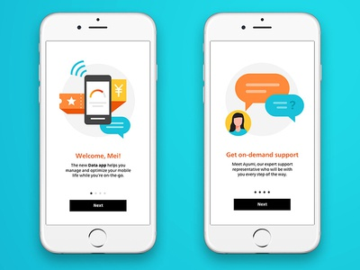 Onboarding explorations for a telco mobile app illustration ui ux mobile app