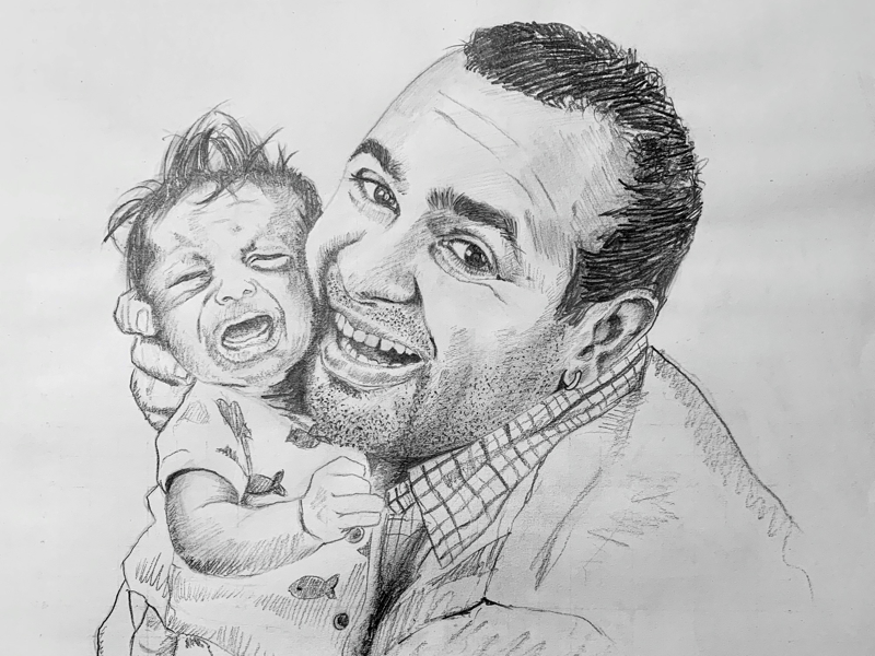Sketch of my son and myself pencil sketch