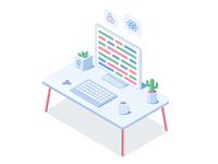 Isometric Developer's Desk
