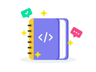 Tech Interview Handbook flat tech book icon illustration