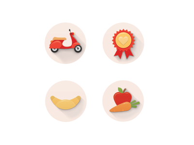 Icons for rohlik.cz icons vespa roll badge apple carrot illustration