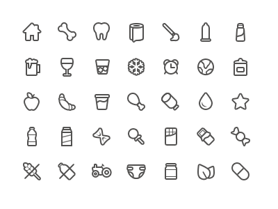 Icon set for online grocery shop icons grocery shop web food category