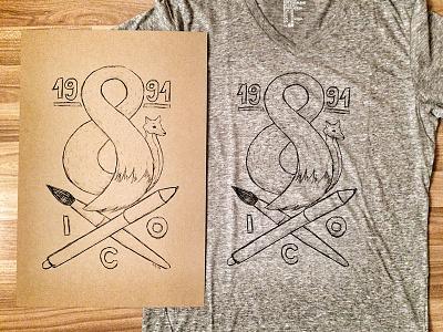 Silkscreen print test fox brush pen tablet illustration illustrator t-shirt poster