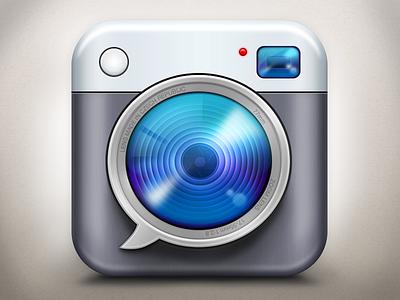 "Icon for ""Hláškomat"" app icon camera bubble lens photo app ios iphone"