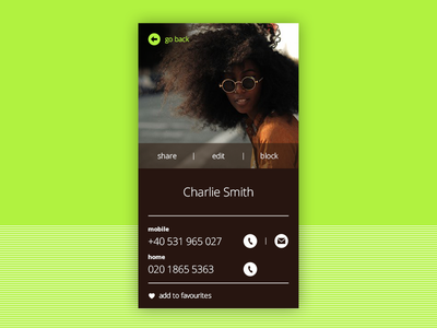 Profile Screen for Mobile green simplicity contact user profile ux ui mobile