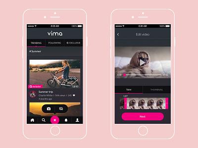 Vima - premium video content app app mobile branding ux ui
