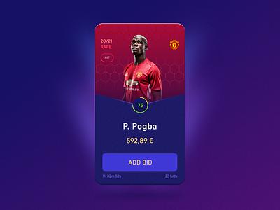 Soccer card bid graphic design ui design gamification crypto pogba soccer game card