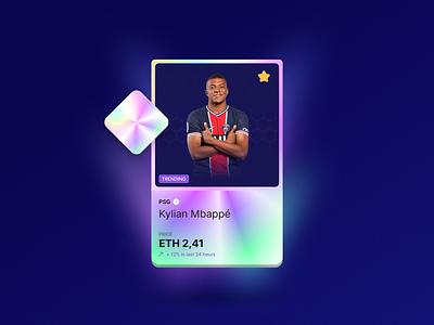 Soccer card nft olograph branding vector webdesign logo rank bid mbappe game soccer ethereum cryptocurrency crypto gamification design ui card graphic design