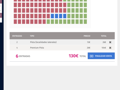 Selling tickets interface selector seats table ui dashboard tickets