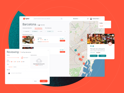 Splor - User Collections UI collections barcelona interface investor ux ui ui card card review location travel map web design website web app web dashboard user