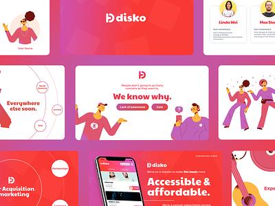 Disko - Pitch Deck dancing people character tech startup picks curate curation concert app music vc investor pitch investor deck pitch presentation whitepaper sales deck slide deck illustration pitch deck