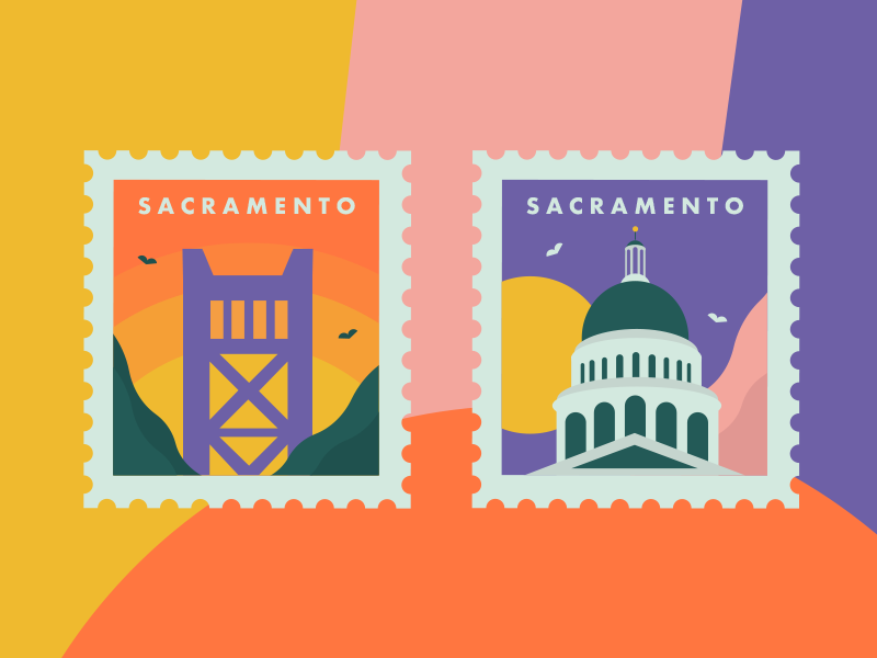 Sacramento Stamps map sacramento landmark monument building vector card postal postage illustration stamp