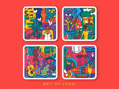 Ledhi colours design artcafe murals illustration