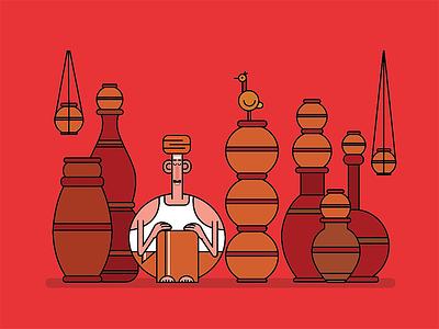 Pot Seller india colours shapes design illustration