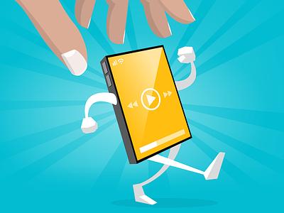 Screengrab device play stroll walking hand phone iphone smartphone