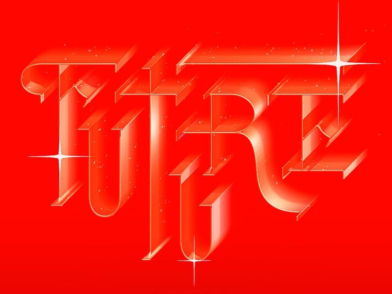 { FUTURE } lettering calligraphy c4d 3d lighting crimson gradient typography