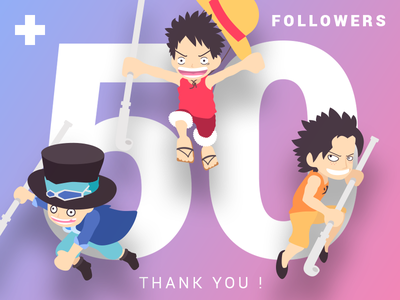 +50 Followers Thank You one-piece luffy than-you dribbble followers