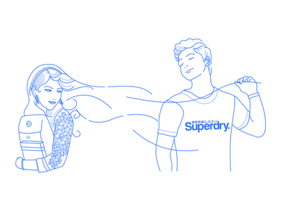 Attraction Superdry illustrator blue couple draw love attraction