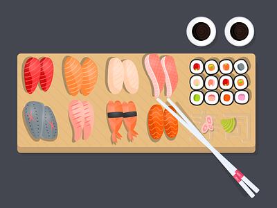 Sushi Illustration eat food asia japan fastfood restaurant shop sushi
