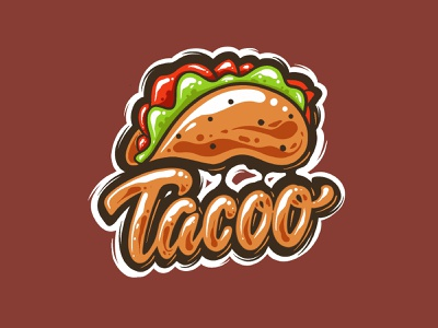 Tacoo tacos food brush typeidea logotype shirt artwork garisztemu lettering art lettering logo script taco graffiti lettering
