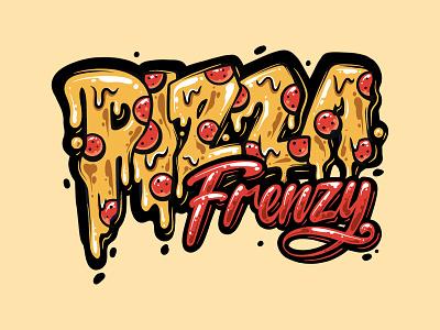 Pizza Frenzy graffiti font frenzy garisztemu calligraphy colorful graffiti lettering icon logo branding foodlogo pizza logo pizza