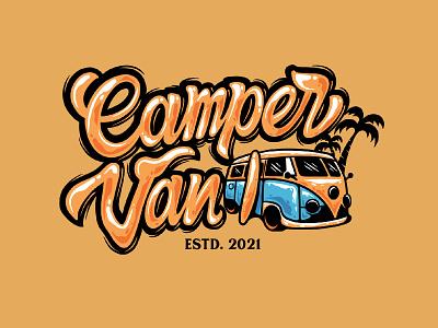 Camper Van surfing coconut design lettering logo logotype vibe summer font letter typography calligraphy campervan van lettering logo