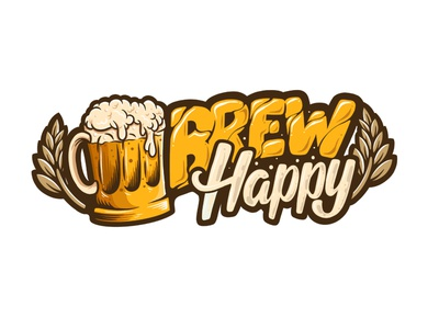 Brew Happy happy vector icon brand identity brewery logo font script lettering typography calligraphy drink beer brewing brew