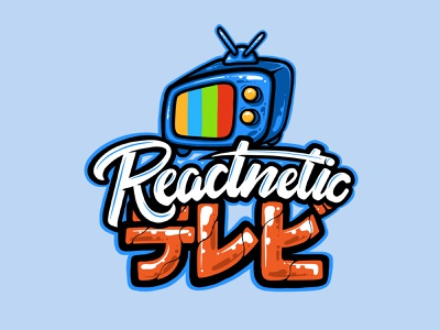 Reactnetic TV Logo brand identity illustration logotype brand icon letter scriptfont script typography japanese tv vector logo youtube
