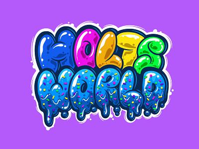 Hotsworld restaurant icon vector idea letters cartoon bubble typography cake logo design daily lettering cake meses gradient coloful