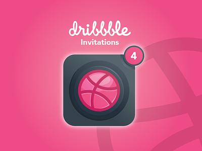 4 Dribbble Invitation flat 3d 2d player community invite design draft basketball ball logo illustration app ux ui 4 invitations icon dribbble invitation invite