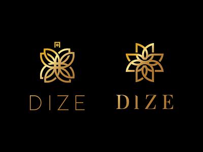 Dize lettering fan adobe flower parfume delux luxury clean simple 2d design logotype logogram 2d vector monogram logo
