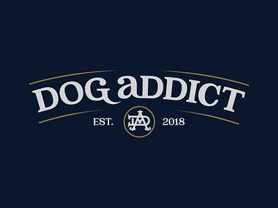 Dog Addict adobe vector fonts vintage retro type mark flat clean simple merch logotypes logo emblem dog typography 2d logogram font logotype